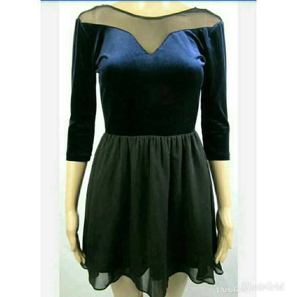 8e7652ee7903 H&M Dresses | Hm Divided Blue Velvet Dress Sz 4 A222 | Poshmark